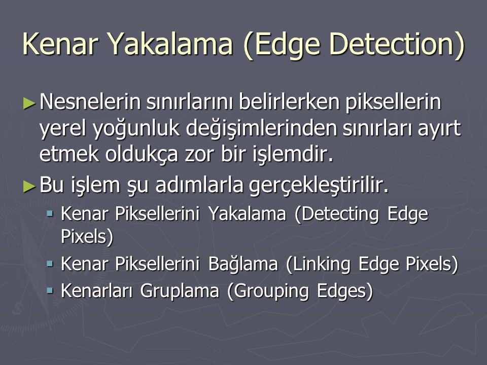 Kenar Yakalama (Edge Detection) ► Nesnelerin sınırlarını belirlerken piksellerin yerel yoğunluk değişimlerinden sınırları ayırt etmek oldukça zor bir
