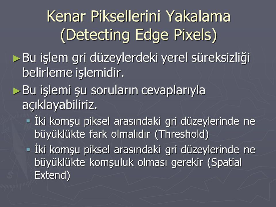 Kenar Piksellerini Yakalama (Detecting Edge Pixels) ► Bu işlem gri düzeylerdeki yerel süreksizliği belirleme işlemidir. ► Bu işlemi şu soruların cevap