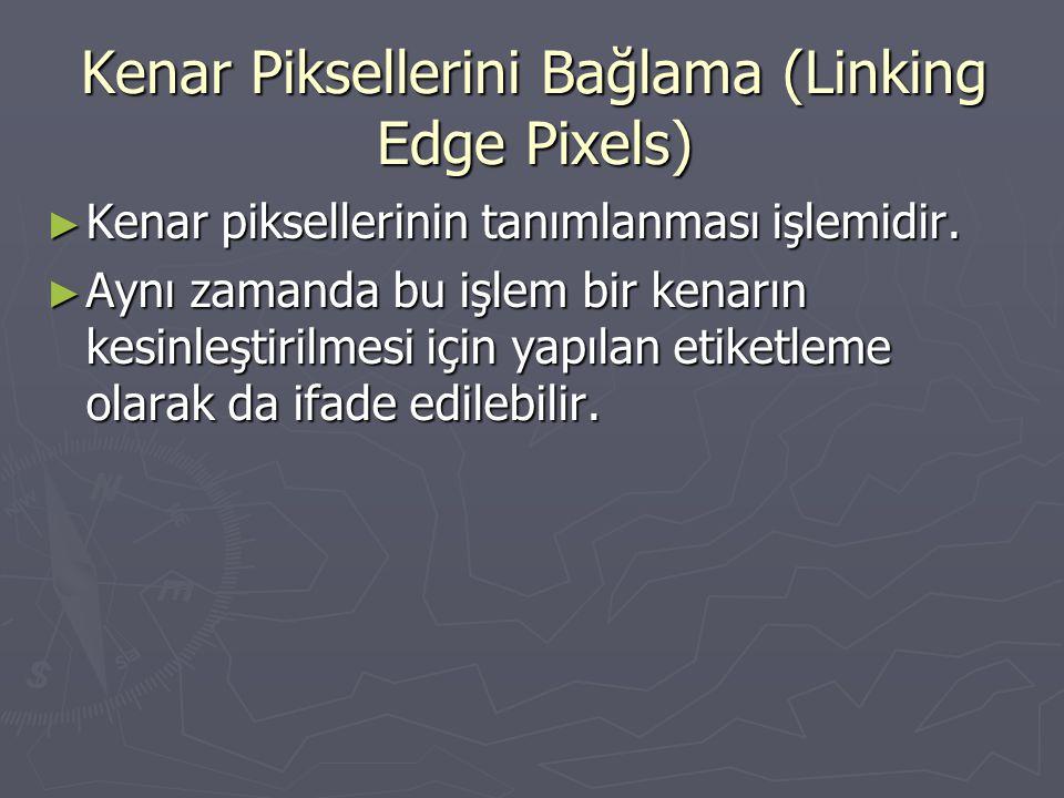 Kenar Piksellerini Bağlama (Linking Edge Pixels) ► Kenar piksellerinin tanımlanması işlemidir. ► Aynı zamanda bu işlem bir kenarın kesinleştirilmesi i