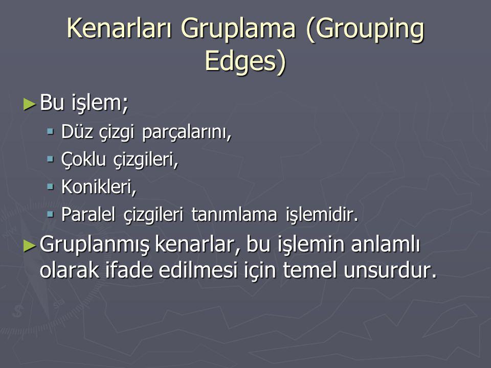 Kenarları Gruplama (Grouping Edges) ► Bu işlem;  Düz çizgi parçalarını,  Çoklu çizgileri,  Konikleri,  Paralel çizgileri tanımlama işlemidir. ► Gr