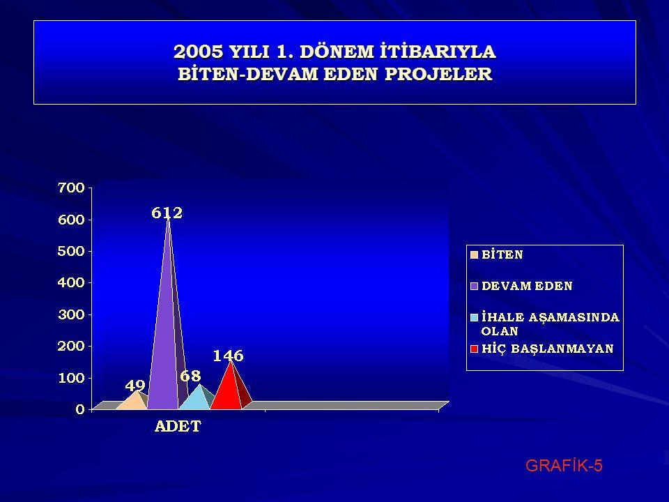 2005 YILI 1. DÖNEM İTİBARIYLA BİTEN-DEVAM EDEN PROJELER GRAFİK-5