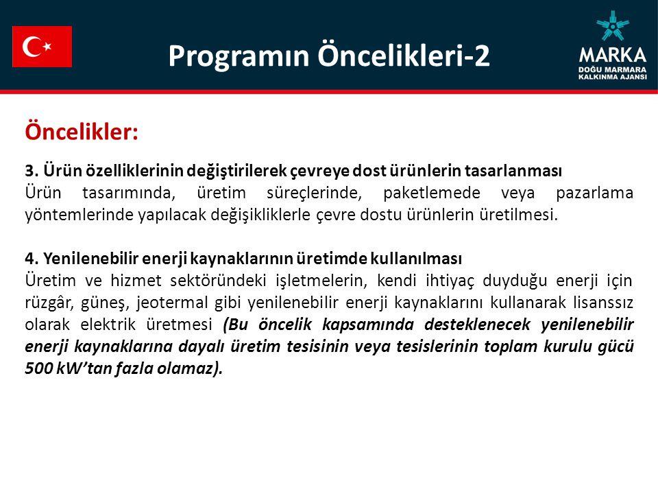 Programın Öncelikleri-2 Öncelikler: 3.