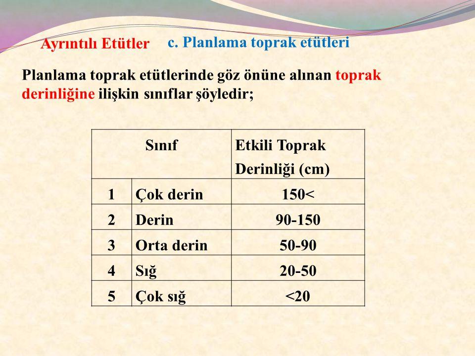 c. Planlama toprak etütleri Ayrıntılı Etütler Planlama toprak etütlerinde göz önüne alınan toprak derinliğine ilişkin sınıflar şöyledir; Sınıf Etkili