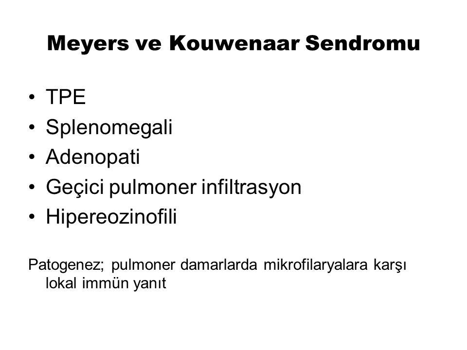 Meyers ve Kouwenaar Sendromu TPE Splenomegali Adenopati Geçici pulmoner infiltrasyon Hipereozinofili Patogenez; pulmoner damarlarda mikrofilaryalara k