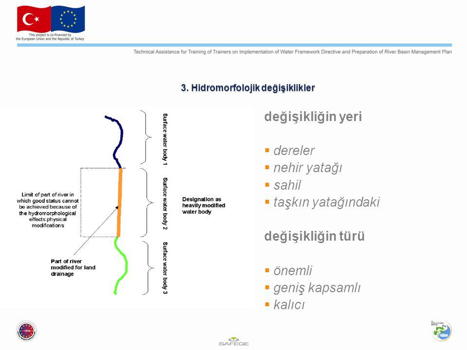 3. Hidromorfolojik değişiklikler değişikliğin yeri  dereler  nehir yatağı  sahil  taşkın yatağındaki değişikliğin türü  önemli  geniş kapsamlı 