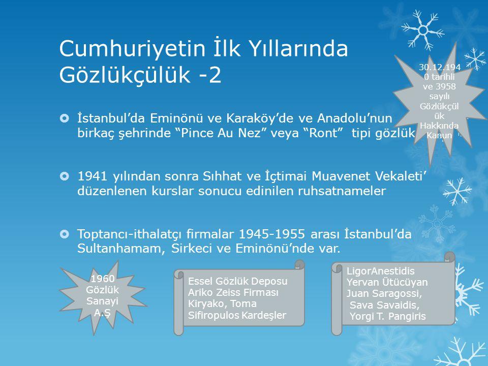 """Cumhuriyetin İlk Yıllarında Gözlükçülük -2  İstanbul'da Eminönü ve Karaköy'de ve Anadolu'nun birkaç şehrinde """"Pince Au Nez"""" veya """"Ront"""" tipi gözlük """