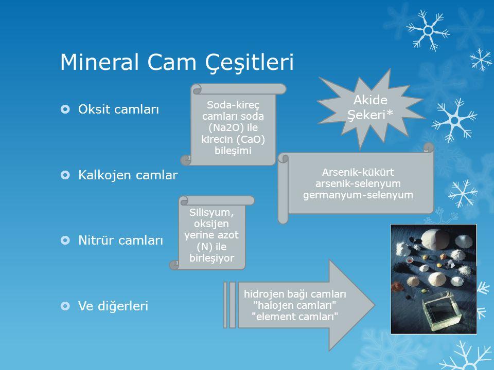 Mineral Cam Çeşitleri  Oksit camları  Kalkojen camlar  Nitrür camları  Ve diğerleri Soda-kireç camları soda (Na2O) ile kirecin (CaO) bileşimi Ars