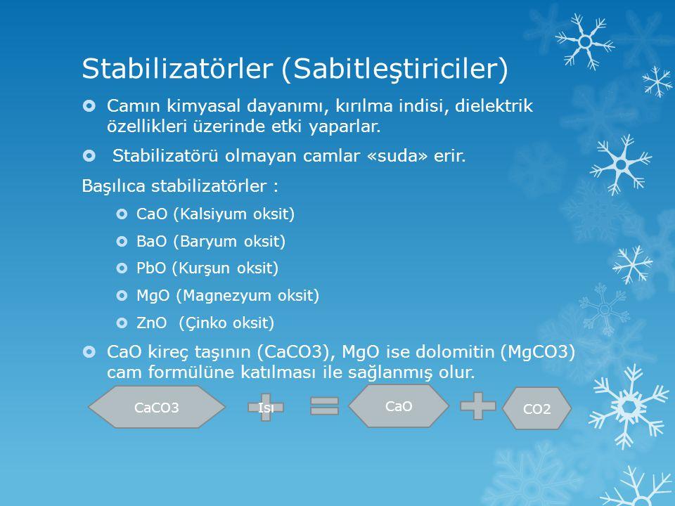 Stabilizatörler (Sabitleştiriciler)  Camın kimyasal dayanımı, kırılma indisi, dielektrik özellikleri üzerinde etki yaparlar.  Stabilizatörü olmayan