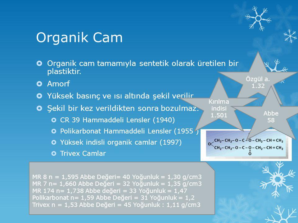 Organik Cam  Organik cam tamamıyla sentetik olarak üretilen bir plastiktir.  Amorf  Yüksek basınç ve ısı altında şekil verilir  Şekil bir kez veri