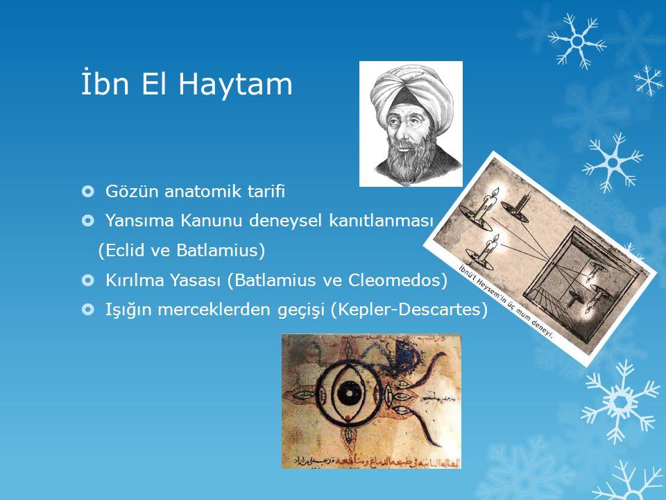 İbn El Haytam  Gözün anatomik tarifi  Yansıma Kanunu deneysel kanıtlanması (Eclid ve Batlamius)  Kırılma Yasası (Batlamius ve Cleomedos)  Işığın m