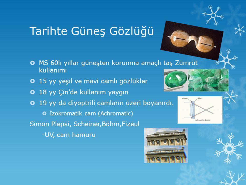 Tarihte Güneş Gözlüğü  MS 60lı yıllar güneşten korunma amaçlı taş Zümrüt kullanımı  15 yy yeşil ve mavi camlı gözlükler  18 yy Çin'de kullanım yayg