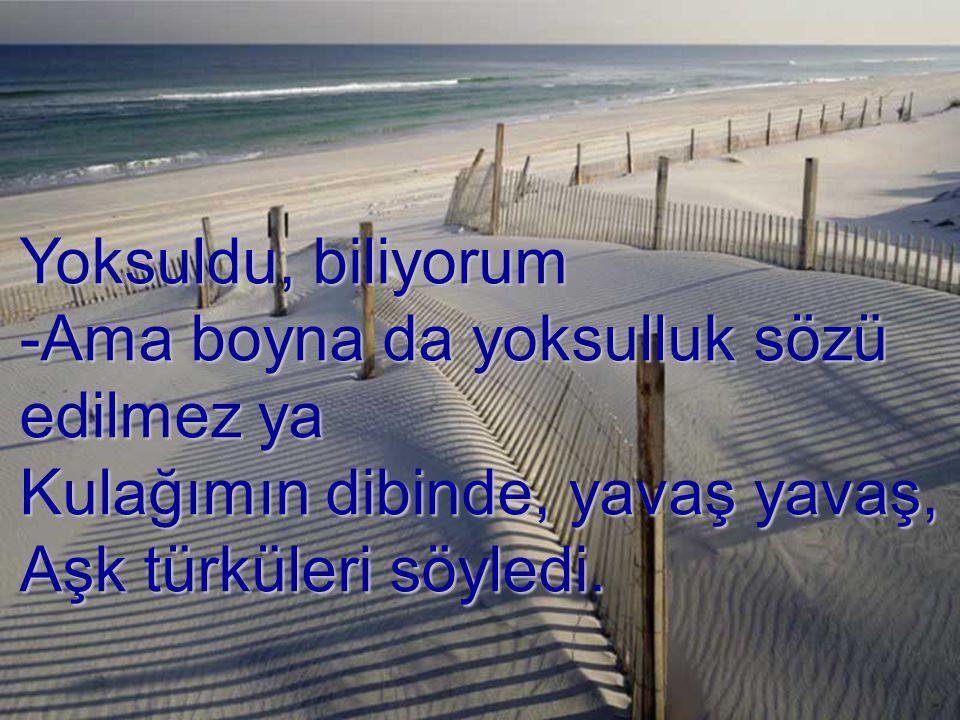Yoksuldu, biliyorum -Ama boyna da yoksulluk sözü edilmez ya Kulağımın dibinde, yavaş yavaş, Aşk türküleri söyledi.