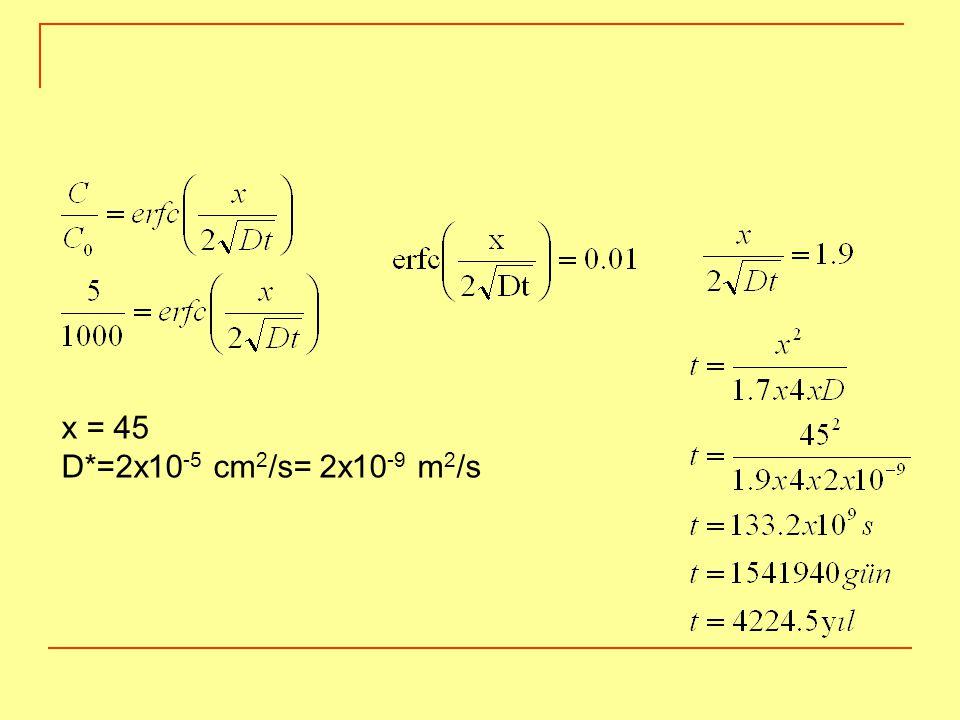 x = 45 D*=2x10 -5 cm 2 /s= 2x10 -9 m 2 /s