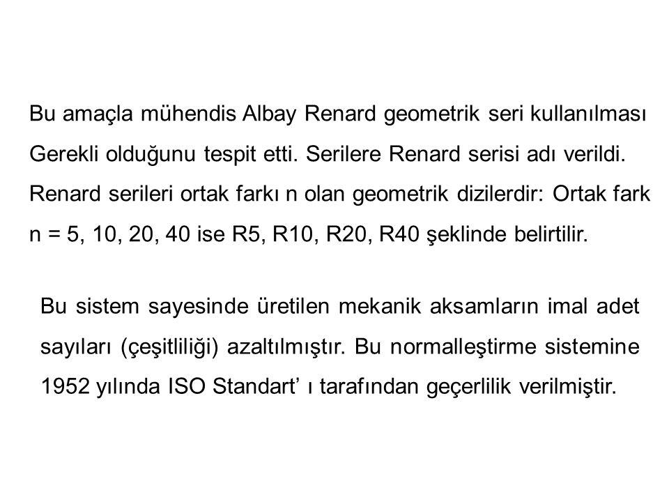 Bu amaçla mühendis Albay Renard geometrik seri kullanılması Gerekli olduğunu tespit etti. Serilere Renard serisi adı verildi. Renard serileri ortak fa