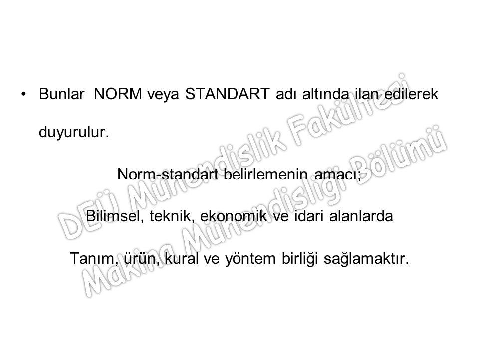 Bunlar NORM veya STANDART adı altında ilan edilerek duyurulur. Norm-standart belirlemenin amacı; Bilimsel, teknik, ekonomik ve idari alanlarda Tanım,