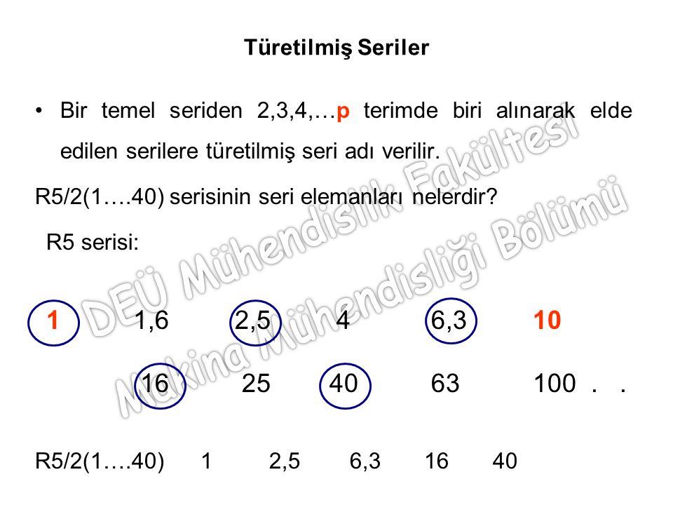 Türetilmiş Seriler Bir temel seriden 2,3,4,…p terimde biri alınarak elde edilen serilere türetilmiş seri adı verilir. R5/2(1….40) serisinin seri elema
