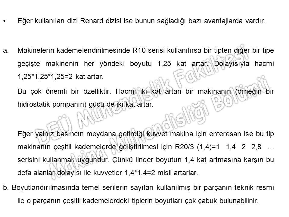 Eğer kullanılan dizi Renard dizisi ise bunun sağladığı bazı avantajlarda vardır. a.Makinelerin kademelendirilmesinde R10 serisi kullanılırsa bir tipte