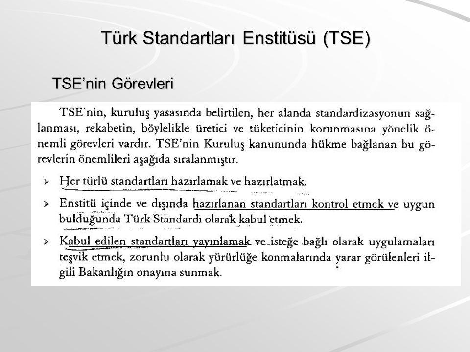 Türk Standartları Enstitüsü (TSE) TSE'nin Görevleri