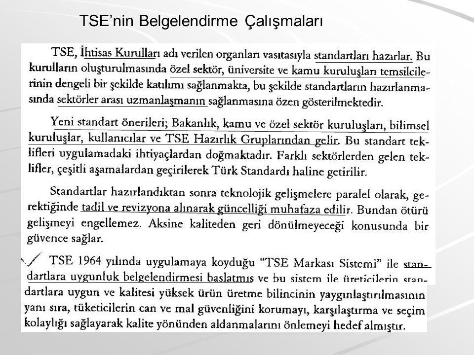 TSE'nin Belgelendirme Çalışmaları