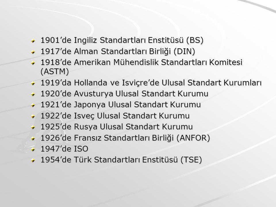 1901'de Ingiliz Standartları Enstitüsü (BS) 1917'de Alman Standartları Birliği (DIN) 1918'de Amerikan Mühendislik Standartları Komitesi (ASTM) 1919'da