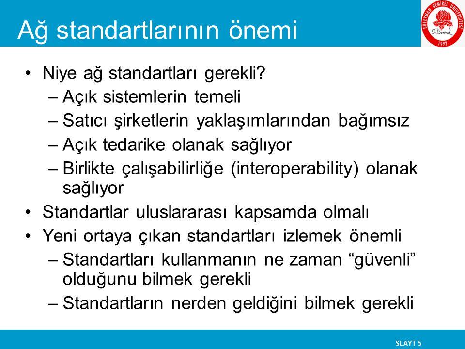 SLAYT 5 Ağ standartlarının önemi Niye ağ standartları gerekli? –Açık sistemlerin temeli –Satıcı şirketlerin yaklaşımlarından bağımsız –Açık tedarike o