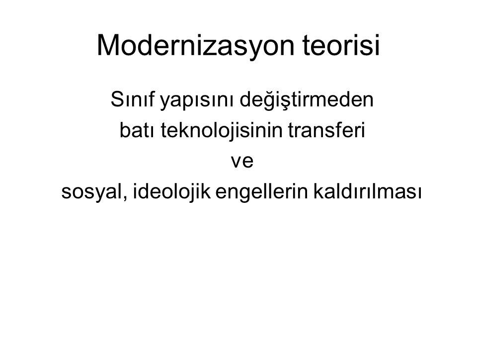 Modernizasyon teorisi Sınıf yapısını değiştirmeden batı teknolojisinin transferi ve sosyal, ideolojik engellerin kaldırılması