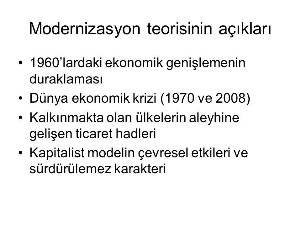 Modernizasyon teorisinin açıkları 1960'lardaki ekonomik genişlemenin duraklaması Dünya ekonomik krizi (1970 ve 2008) Kalkınmakta olan ülkelerin aleyhi