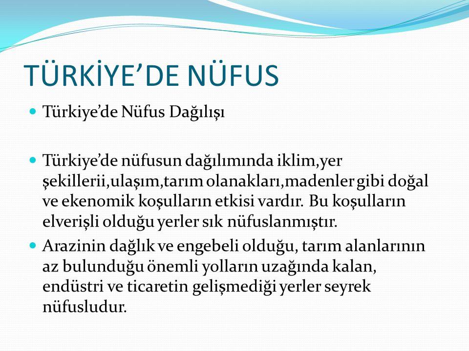 TÜRKİYE'DE NÜFUS Türkiye'de Nüfus Dağılışı Türkiye'de nüfusun dağılımında iklim,yer şekillerii,ulaşım,tarım olanakları,madenler gibi doğal ve ekenomik koşulların etkisi vardır.