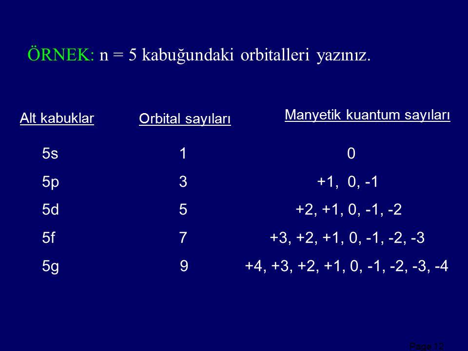 Page 12 ÖRNEK: n = 5 kabuğundaki orbitalleri yazınız. 5s 1 0 5p 3 +1, 0, -1 5d 5 +2, +1, 0, -1, -2 5f 7 +3, +2, +1, 0, -1, -2, -3 5g 9 +4, +3, +2, +1,