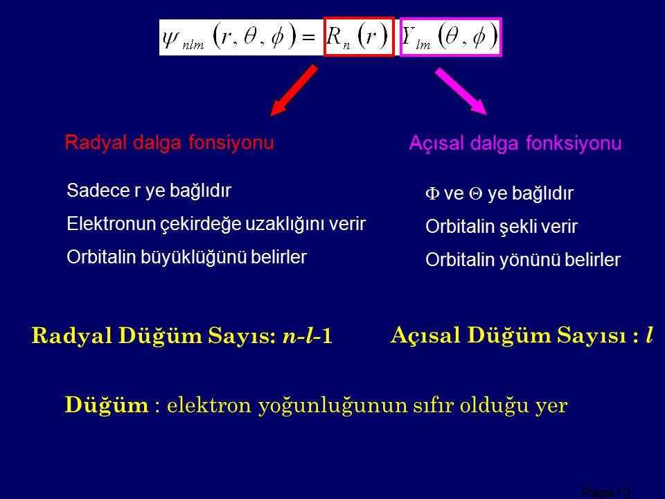 Page 13 Radyal dalga fonsiyonu Sadece r ye bağlıdır Elektronun çekirdeğe uzaklığını verir Orbitalin büyüklüğünü belirler Açısal dalga fonksiyonu  ve
