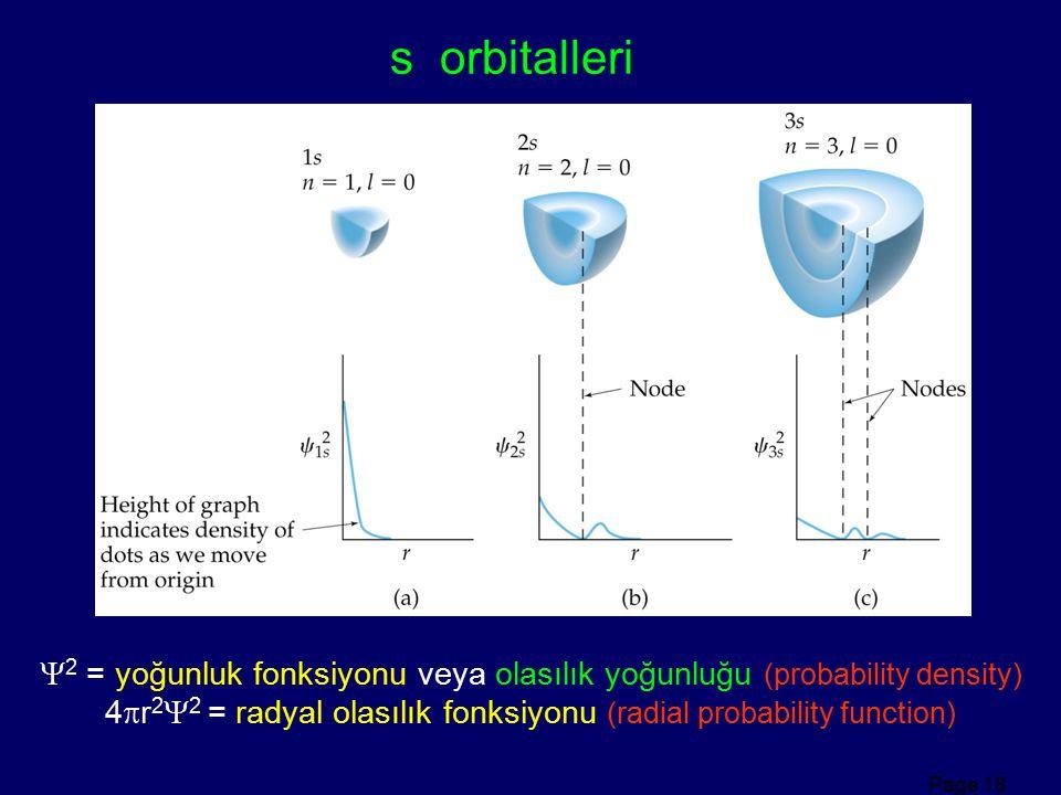 Page 18 s orbitalleri  2 = yoğunluk fonksiyonu veya olasılık yoğunluğu (probability density) 4  r 2  2 = radyal olasılık fonksiyonu (radial probabi