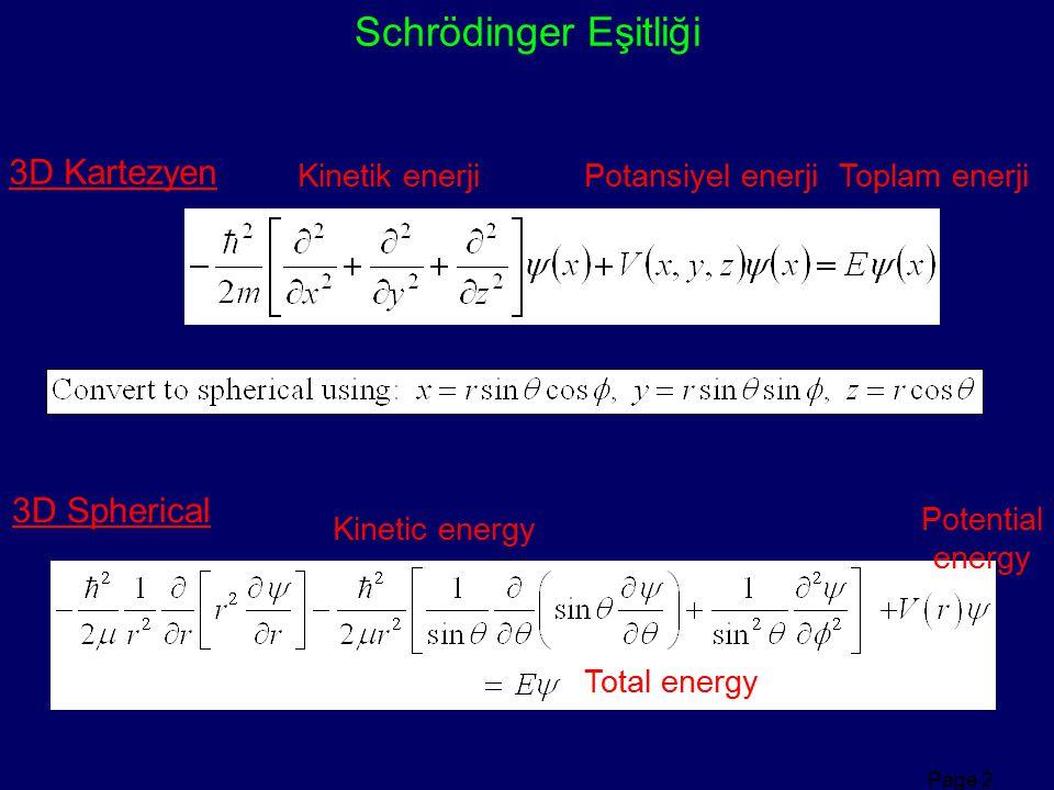Page 2 Schrödinger Eşitliği 3D Kartezyen 3D Spherical Kinetik enerji Potansiyel enerjiToplam enerji Kinetic energy Potential energy Total energy