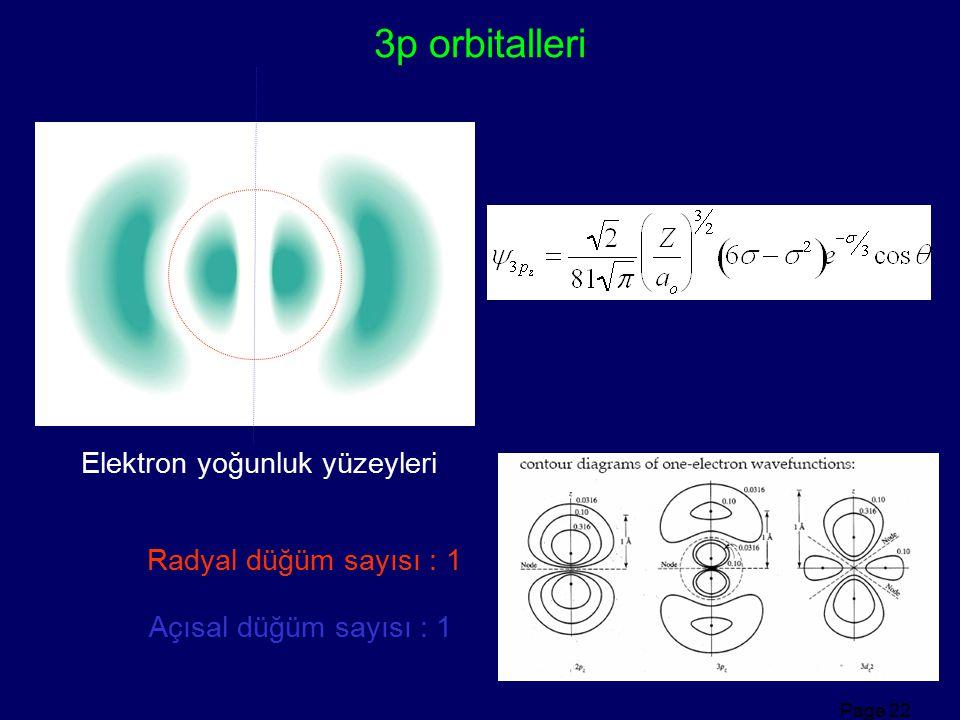 Page 22 3p orbitalleri Elektron yoğunluk yüzeyleri Radyal düğüm sayısı : 1 Açısal düğüm sayısı : 1