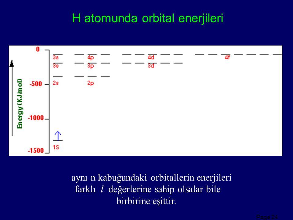 Page 24 H atomunda orbital enerjileri aynı n kabuğundaki orbitallerin enerjileri farklı l değerlerine sahip olsalar bile birbirine eşittir.