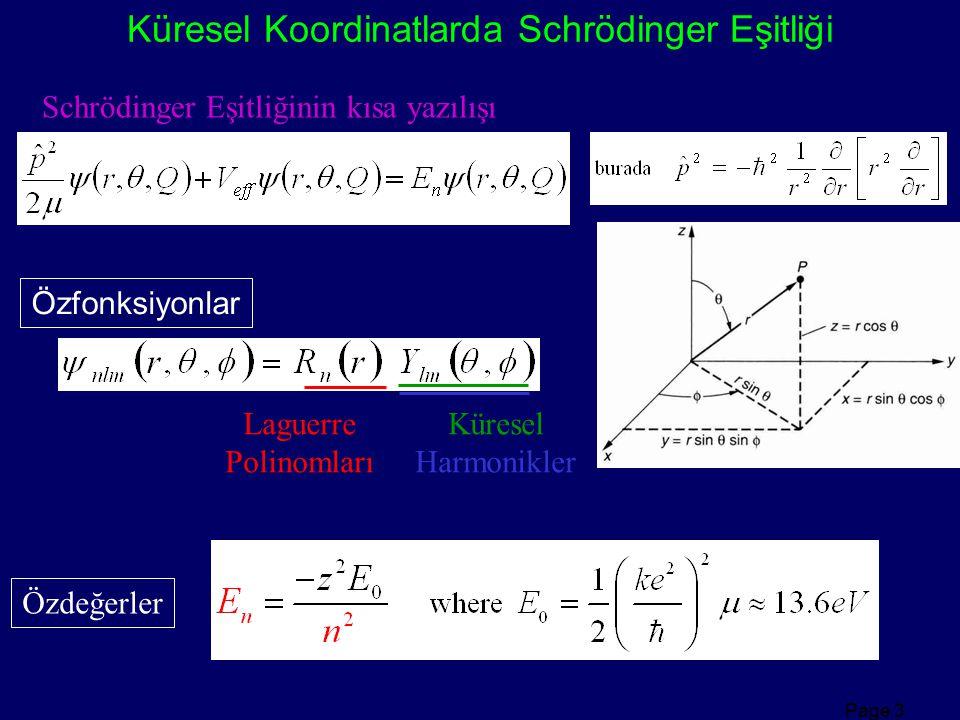 Page 3 Küresel Koordinatlarda Schrödinger Eşitliği Laguerre Polinomları Küresel Harmonikler Özdeğerler Özfonksiyonlar Schrödinger Eşitliğinin kısa yaz