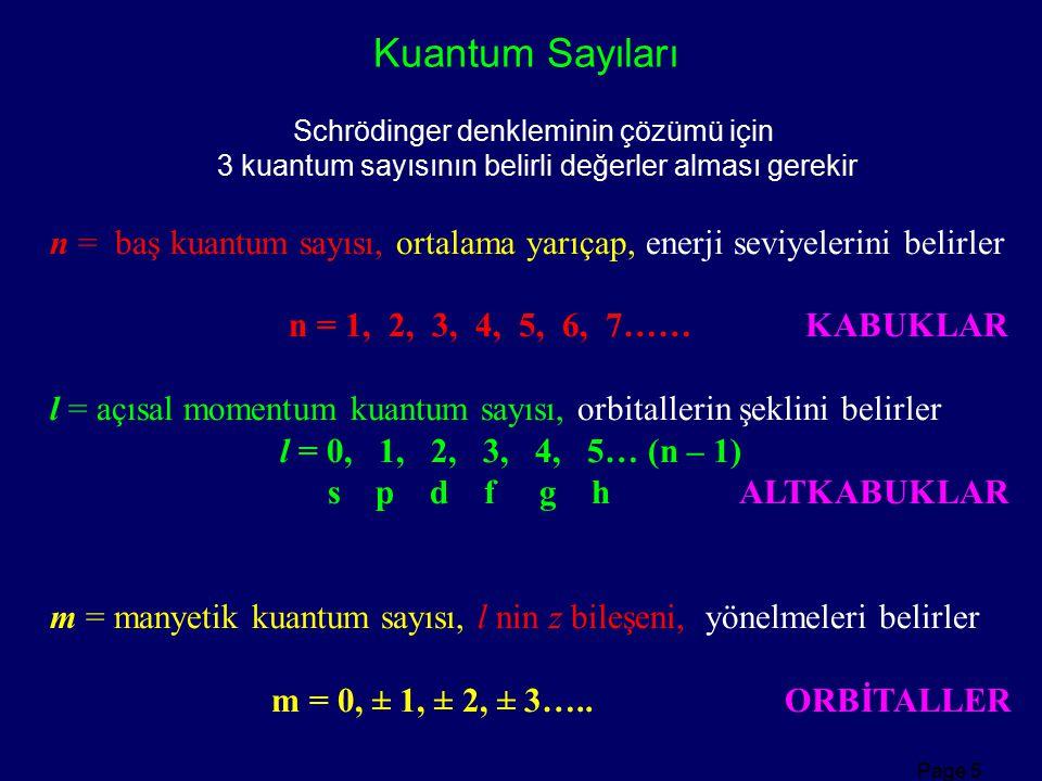 Page 5 n = baş kuantum sayısı, ortalama yarıçap, enerji seviyelerini belirler n = 1, 2, 3, 4, 5, 6, 7…… KABUKLAR l = açısal momentum kuantum sayısı, o