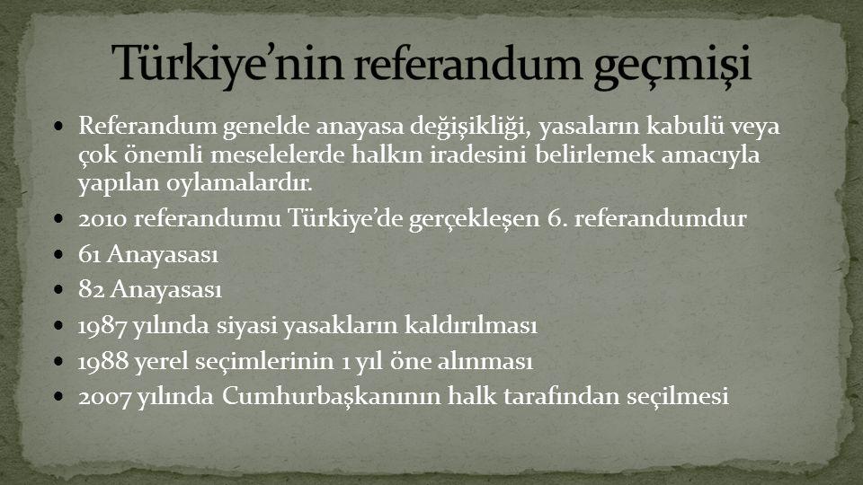 Referandum genelde anayasa değişikliği, yasaların kabulü veya çok önemli meselelerde halkın iradesini belirlemek amacıyla yapılan oylamalardır.
