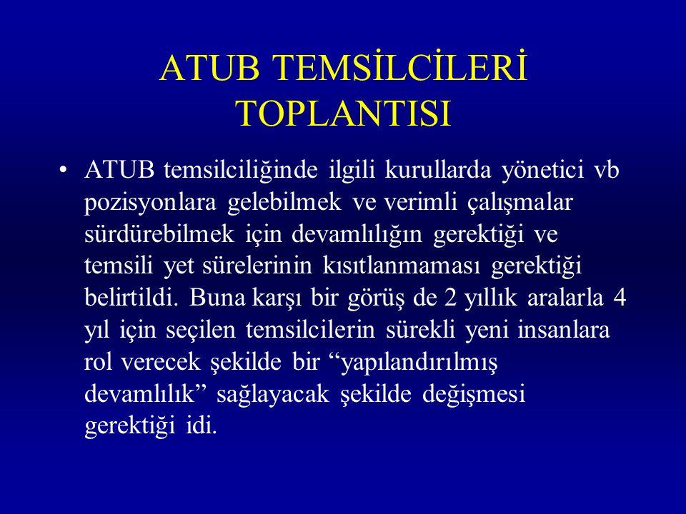 ATUB TEMSİLCİLERİ TOPLANTISI ATUB temsilciliğinde ilgili kurullarda yönetici vb pozisyonlara gelebilmek ve verimli çalışmalar sürdürebilmek için devam