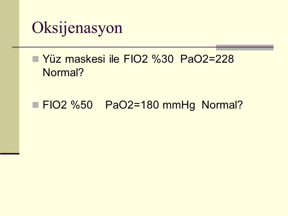 Oksijenasyon Yüz maskesi ile FIO2 %30 PaO2=228 Normal? FIO2 %50 PaO2=180 mmHg Normal?