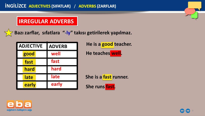 "9 IRREGULAR ADVERBS Bazı zarflar, sıfatlara ""-ly"" takısı getirilerek yapılmaz. He is a good teacher. He teaches well. She is a fast runner. She runs f"