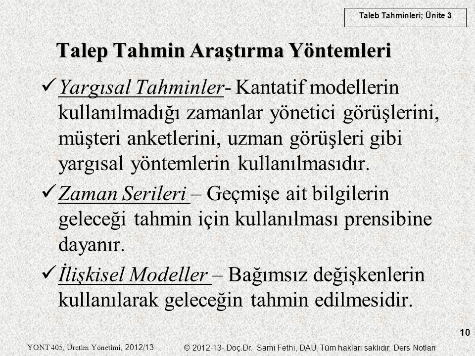 Taleb Tahminleri; Ünite 3 YONT 405, Üretim Yönetimi, 2012/13 © 2012-13- Doç.Dr. Sami Fethi, DAÜ, Tüm hakları saklıdır, Ders Notları 10 Yargısal Tahmin