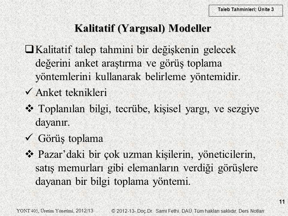 Taleb Tahminleri; Ünite 3 YONT 405, Üretim Yönetimi, 2012/13 © 2012-13- Doç.Dr. Sami Fethi, DAÜ, Tüm hakları saklıdır, Ders Notları 11  Kalitatif tal