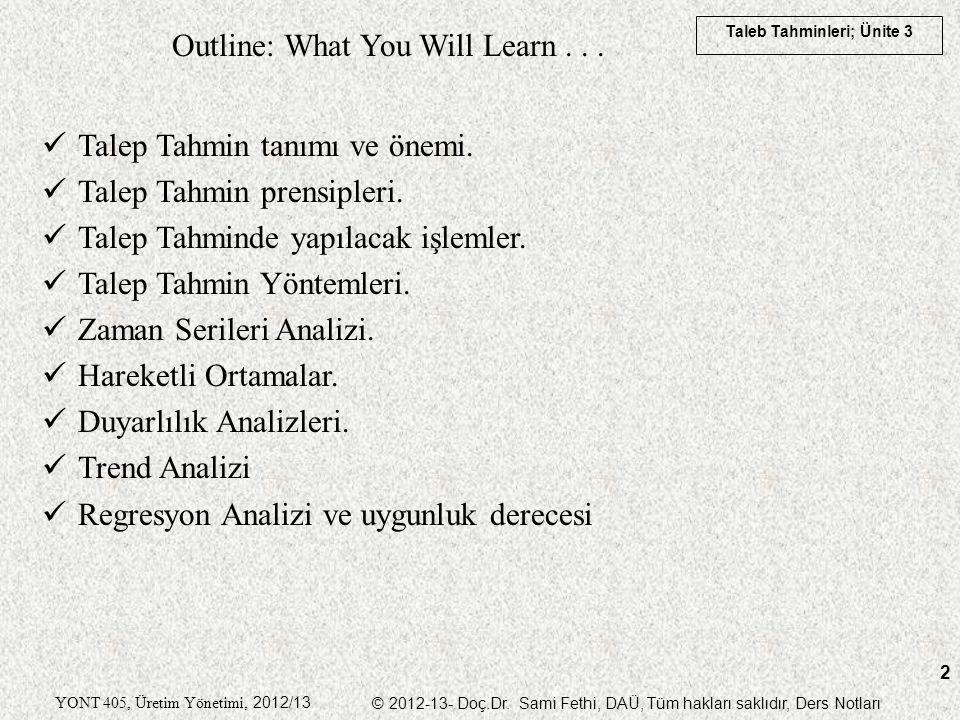 Taleb Tahminleri; Ünite 3 YONT 405, Üretim Yönetimi, 2012/13 © 2012-13- Doç.Dr. Sami Fethi, DAÜ, Tüm hakları saklıdır, Ders Notları 2 Outline: What Yo