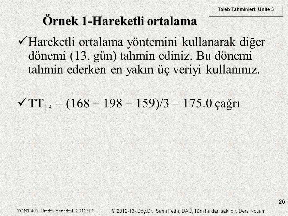 Taleb Tahminleri; Ünite 3 YONT 405, Üretim Yönetimi, 2012/13 © 2012-13- Doç.Dr. Sami Fethi, DAÜ, Tüm hakları saklıdır, Ders Notları 26 Hareketli ortal