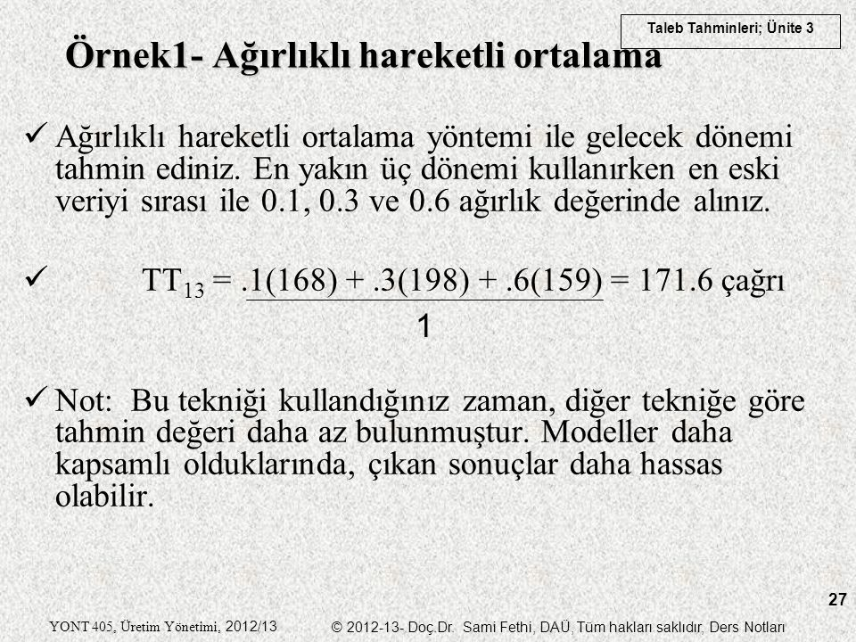 Taleb Tahminleri; Ünite 3 YONT 405, Üretim Yönetimi, 2012/13 © 2012-13- Doç.Dr. Sami Fethi, DAÜ, Tüm hakları saklıdır, Ders Notları 27 Örnek1- Ağırlık