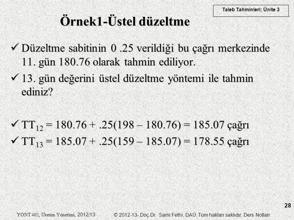 Taleb Tahminleri; Ünite 3 YONT 405, Üretim Yönetimi, 2012/13 © 2012-13- Doç.Dr. Sami Fethi, DAÜ, Tüm hakları saklıdır, Ders Notları 28 Örnek1-Üstel dü