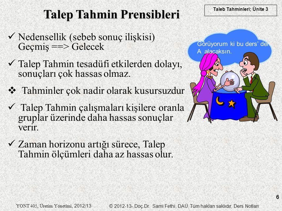 Taleb Tahminleri; Ünite 3 YONT 405, Üretim Yönetimi, 2012/13 © 2012-13- Doç.Dr. Sami Fethi, DAÜ, Tüm hakları saklıdır, Ders Notları 6 Nedensellik (seb