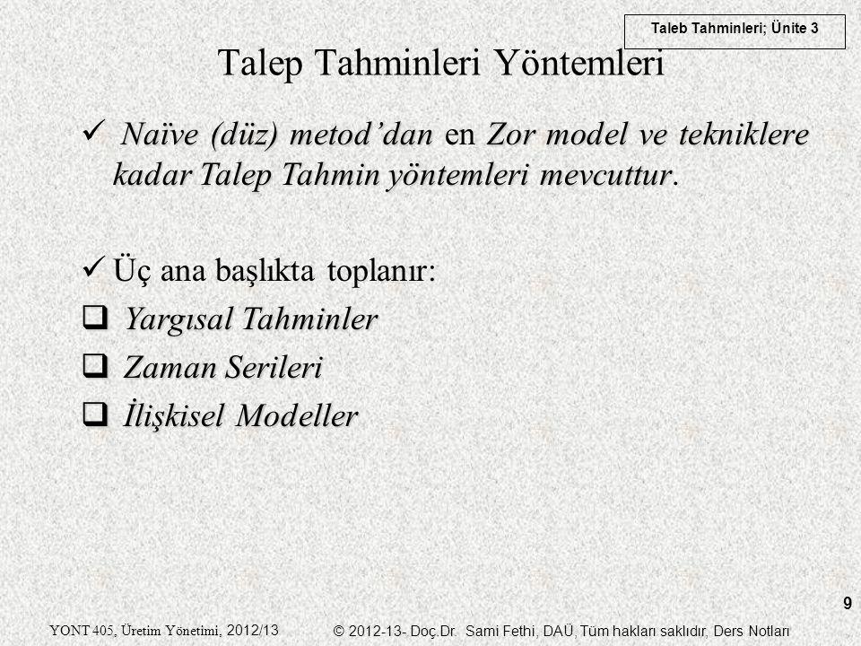 Taleb Tahminleri; Ünite 3 YONT 405, Üretim Yönetimi, 2012/13 © 2012-13- Doç.Dr. Sami Fethi, DAÜ, Tüm hakları saklıdır, Ders Notları 9 Talep Tahminleri