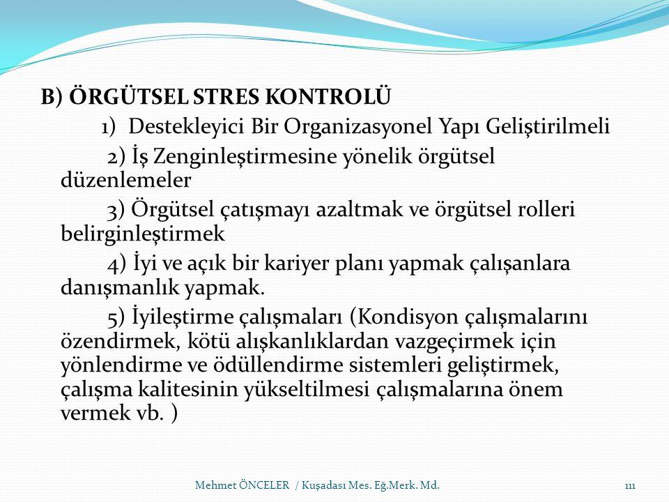 B) ÖRGÜTSEL STRES KONTROLÜ 1) Destekleyici Bir Organizasyonel Yapı Geliştirilmeli 2) İş Zenginleştirmesine yönelik örgütsel düzenlemeler 3) Örgütsel ç