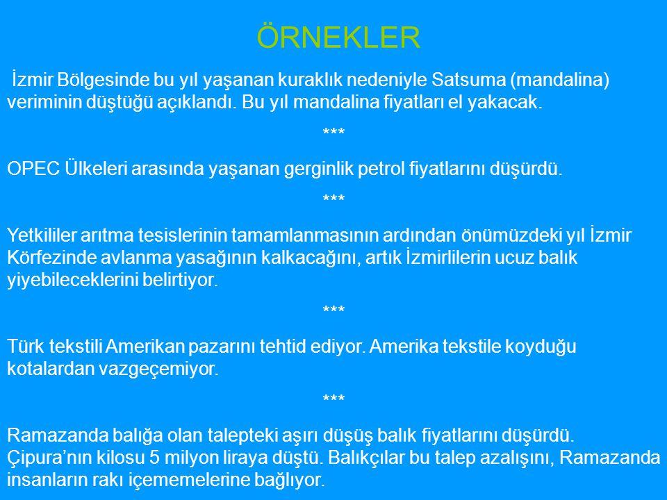 ÖRNEKLER İzmir Bölgesinde bu yıl yaşanan kuraklık nedeniyle Satsuma (mandalina) veriminin düştüğü açıklandı. Bu yıl mandalina fiyatları el yakacak. **